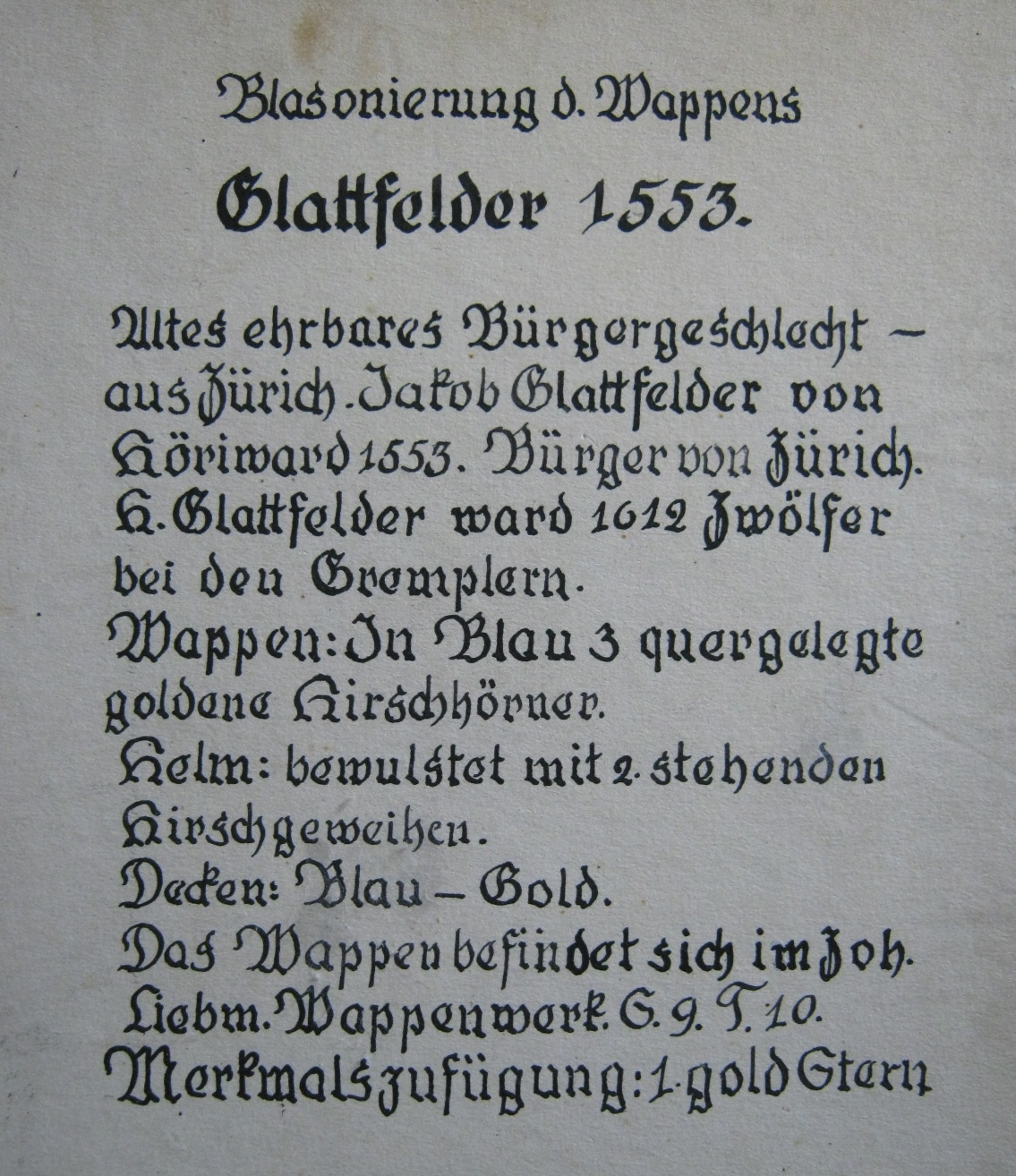 Glattfelder Crest 1553 Description